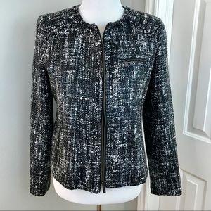 BANANA REPUBLIC Black Gray Tweed Cropped Blazer